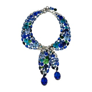 Robert Sorrell Blue Swarovski Crystal Tie Necklace For Sale