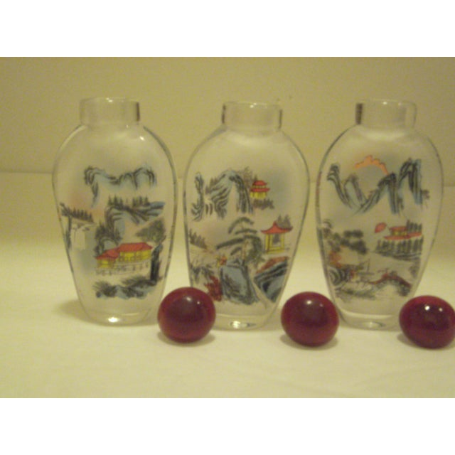Peking Back Painted Glass Bottles - Set of 4 - Image 8 of 11