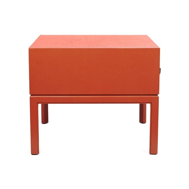 Red Lacquered Hollywood Regency Side Table - Image 3 of 8