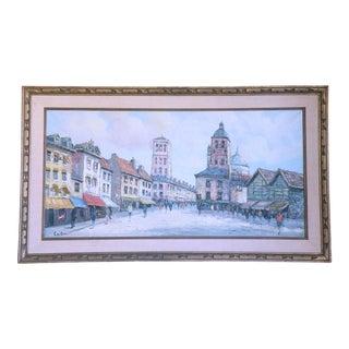 Vintage Mid-Century European Street Scene Painting For Sale