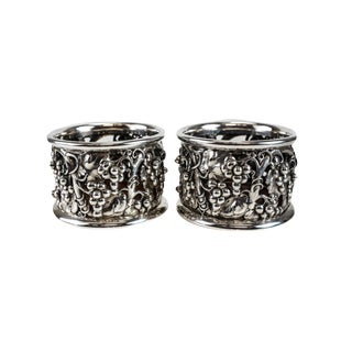 Pair of Evald Nielsen 826 Silver Wine Coasters 1935, Grape & Vine Leaf Accents