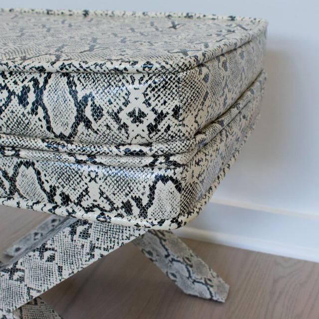 Billy Baldwin Style Python Leather X-Bench Ottoman Footstool For Sale In Atlanta - Image 6 of 13