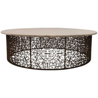 Extra Large Circular Wrought Iron and Marble Table For Sale