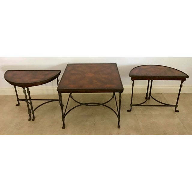 Hollywood Regency Vintage Traditional 3 Piece Bronze and Burled Wood Coffee Side Table Set - 3 Pieces For Sale - Image 3 of 10