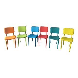 Ligne Roset Style Colorful Felt Chairs - Set Of 6