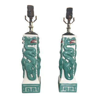 Early 20th Century Chinese Porcelain Dragon Lamps With Greek Key Accents - A Pair