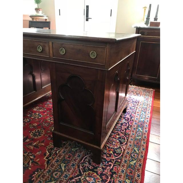 Antique Gothic Revival Oak Leather Top Partner's Desk For Sale - Image 4 of 12