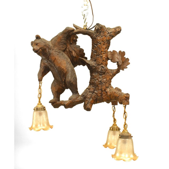 Rustic Black Forest Style Walnut Carved Chandelier For Sale - Image 4 of 4