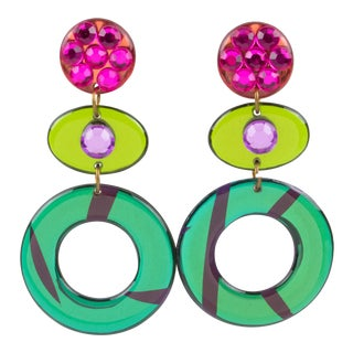 Pop Art Dangling Multicolor Chandelier Lucite Clip-On Earrings For Sale