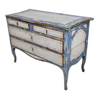 18th Century Swedish Gustavian Blue Painted Commode For Sale