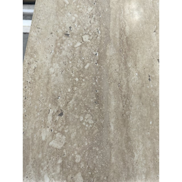 Taupe Faux Travertine Geometric Shapes Side Tables a Pair. For Sale - Image 8 of 13