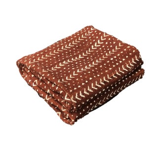 """African Malian Bogolan Textile Mud Cloth Brown & White 43"""" by 62"""" For Sale"""