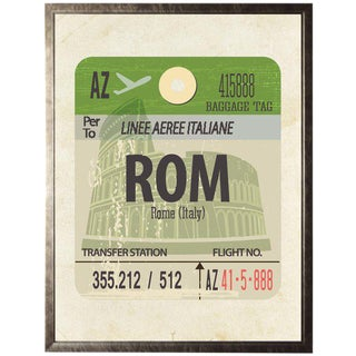 Rome Travel Ticket in Pewter Shadowbox