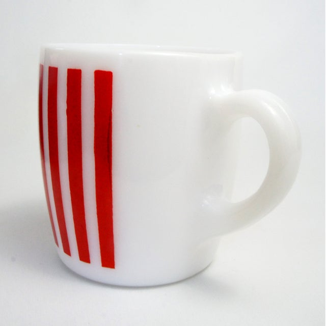 Hazel Atlas Red Striped Milk Glass Mugs – Set of 6 - Image 5 of 5