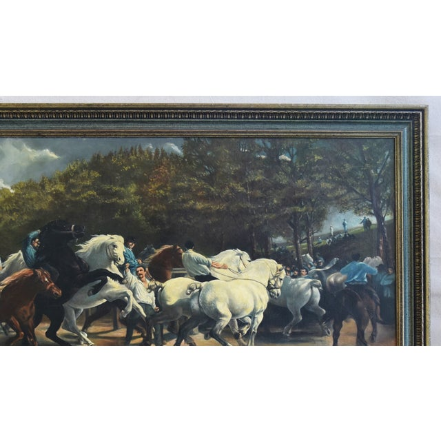 Early 20th Century Circa 1928 Marché Aux Chevaux/Bonhuer by G. Robie Oil Painting For Sale - Image 5 of 12