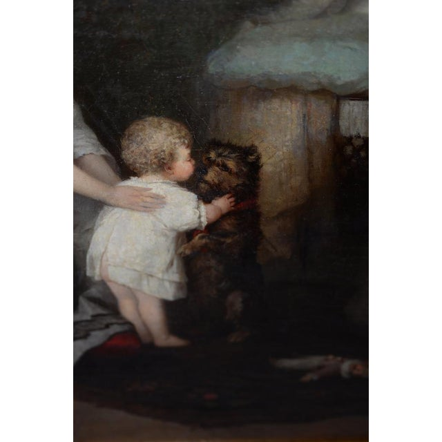 Robert Julius Beyschlag (Germany, 1838-1903) Mother & Child Oil Painting C.1870 For Sale - Image 4 of 9