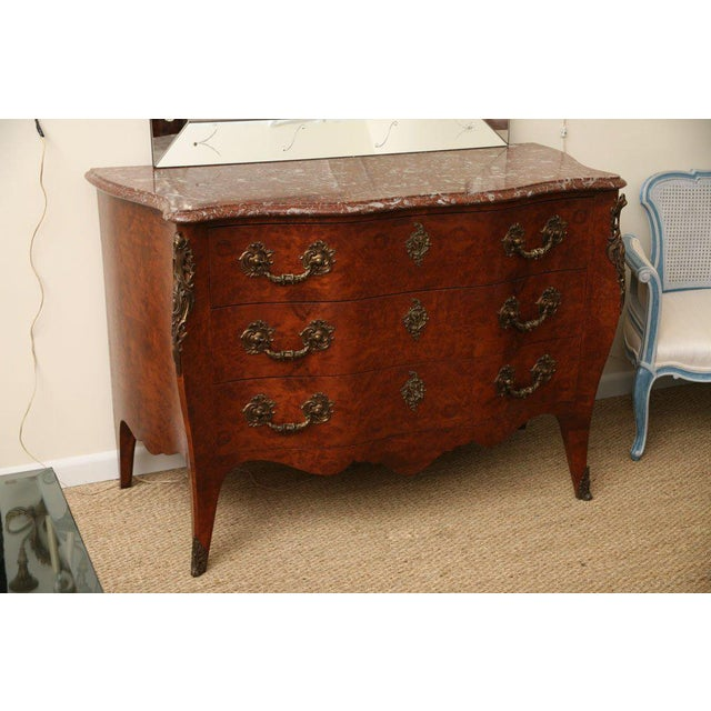 Late 19th century Italian Bombe dresser. Verona red marble-top. Louis XV style. With bronze mounts.