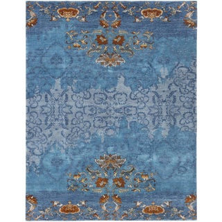 Contemporary Turkish Blue Rug - 7′ × 10′ For Sale