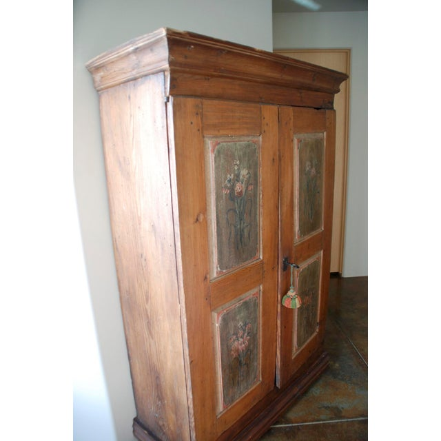 Wood Late 18th/Early 19th Century Antique Hand-Painted Armoire of European Origin For Sale - Image 7 of 9