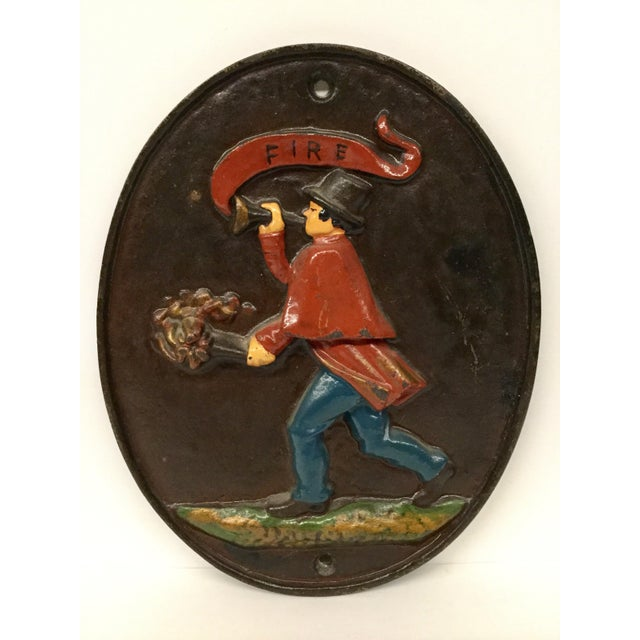 Vintage Wilton Heavy Cast Iron Fireman Fire Department Plaque For Sale - Image 9 of 9