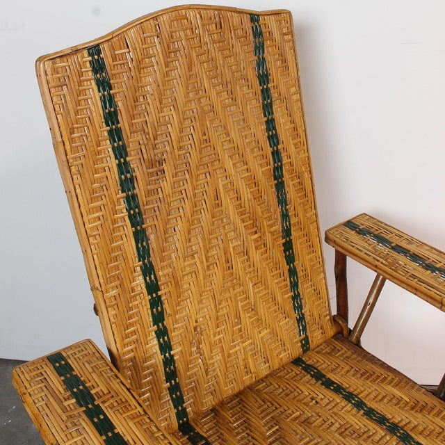 Vintage French Rattan Chaise Lounge & Footrest - Image 7 of 10