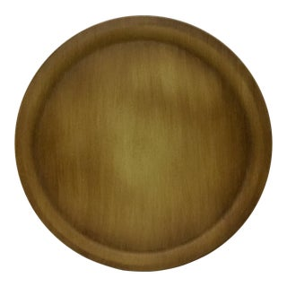 Mid Century Modern Large Round Wood Ware Serving Platter For Sale