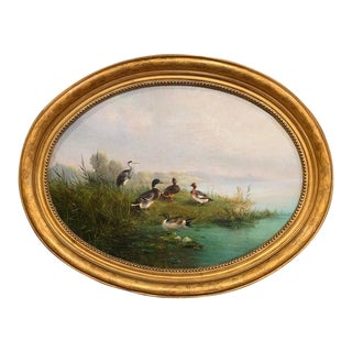 19th Century Dutch Duck Oil Painting in Gilt Frame Signed A. Knip and Dated 1859 For Sale