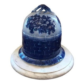 French Flow Blue Cake Pastries Covered Dome Dish For Sale