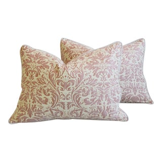 """Italian Mariano Fortuny Lucrezia Feather/Down Pillows 24"""" X 18"""" - Pair For Sale"""
