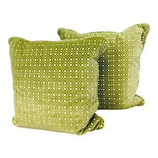 Contemporary Aerin Laude Green Cut Velvet Pillows - a Pair For Sale