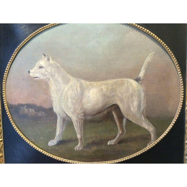 """19th Century Primitive Portrait of a Dog attributed to Gourlay Steel. Actual size of canvas 25""""x30"""", vintage framed..."""