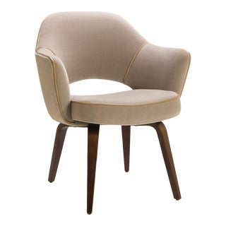 Saarinen Executive Arm Chair with Walnut Legs in Mohair and Leather Piping For Sale
