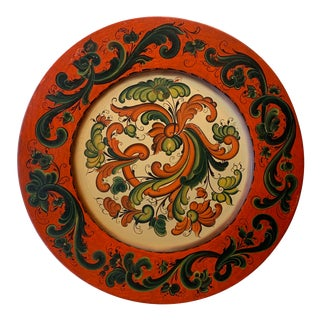 Folk Art Tole Painted Wooden Serving Plate For Sale