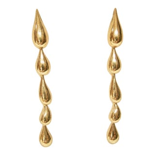 Givenchy Gold Plated Tear Drop Earrings For Sale