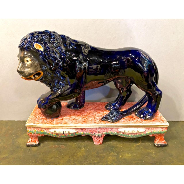Blue Blue Stafford Lion Figurine For Sale - Image 8 of 8