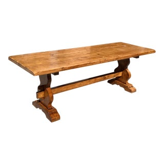 1900s French Solid Walnut Monastery Trestle Table For Sale