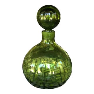 1960's Vintage Blenko Hand Blown Olive Green Decanter Glass Bottle For Sale