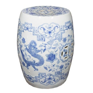 19th Century Vintage Chinese Blue & White Porcelain Garden Seat For Sale