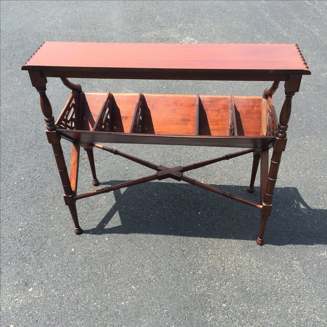 Mahogany Bamboo Chippendale Magazine Table - Image 9 of 10