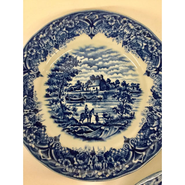 Lovely mix and match blue and whit sandwich plates. Very close in size. 2 are the same pattern and one is an individual...