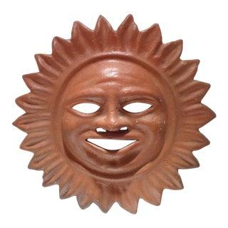 "Vintage Terra Cotta 16"" Mayan Sun Face Sunburst For Sale"