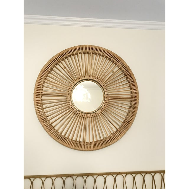 Round Rattan Mirror For Sale - Image 4 of 5