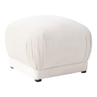 Square Ottoman in Titan Snow For Sale