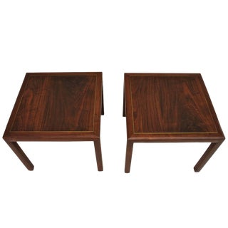 Harvey Probber Side Tables, Made of Rosewood and Brass Inlaid - a Pair For Sale