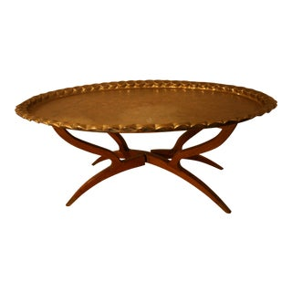 Walnut Spider Brass Tray Table For Sale