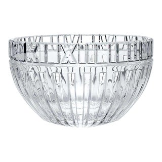 """Vintage 1980s Signed Tiffany & Company Polished Crystal """"Atlas"""" Roman Numeral Bowl For Sale"""