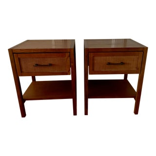 Wood & Rattan Nights StantSide Table - a Pair For Sale