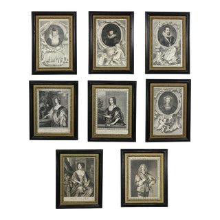 Early 18th Century Framed Engravings of European Royalty - Set of 8 For Sale