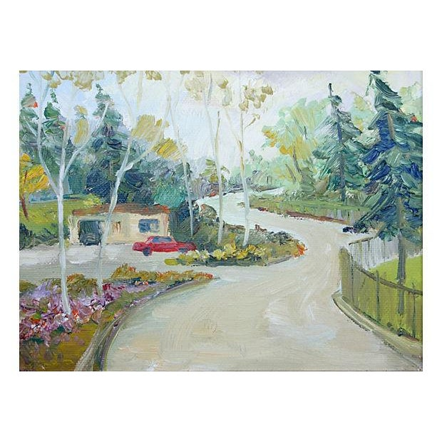 Oil Landscape Painting Titled Long, Winding Road - Image 2 of 4