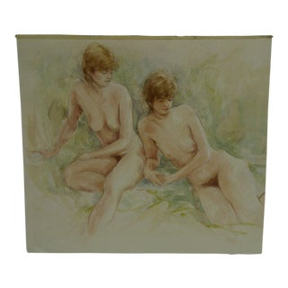 """Original """"2 Girls Nude"""" Painting on Paper by D. Pola"""